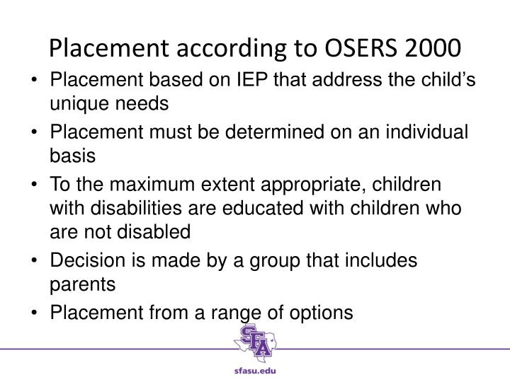 Placement according to OSERS 2000