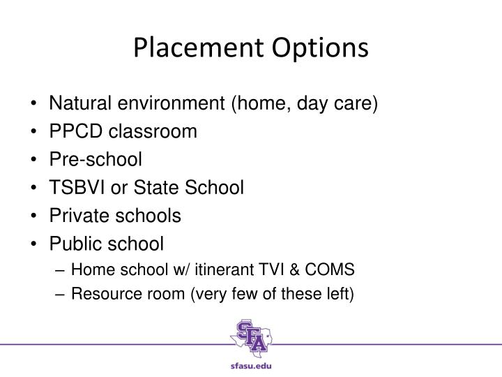 Placement Options