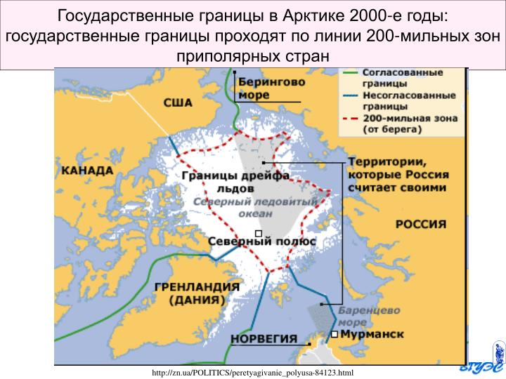 Государственные границы в Арктике 2000-е годы: государственные границы проходят по линии 200-мильных зон приполярных стран