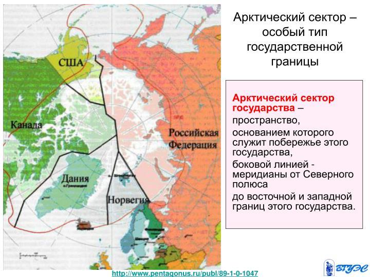 Арктический сектор – особый тип государственной границы