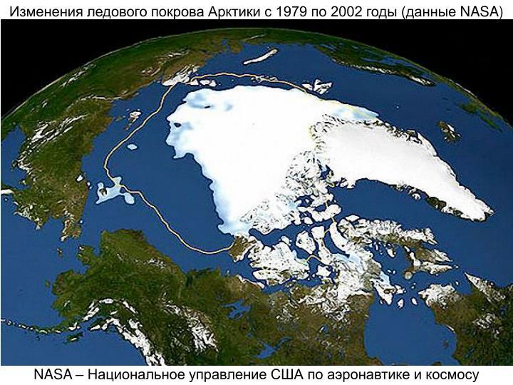 Изменения ледового покрова Арктики с 1979 по 2002 годы (данные