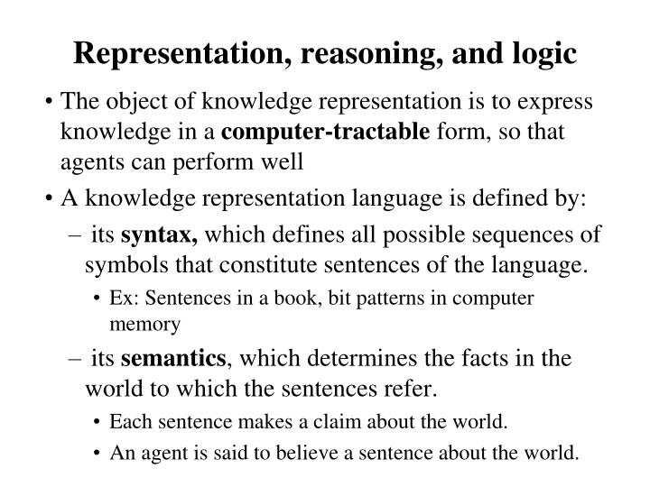 Representation, reasoning, and logic
