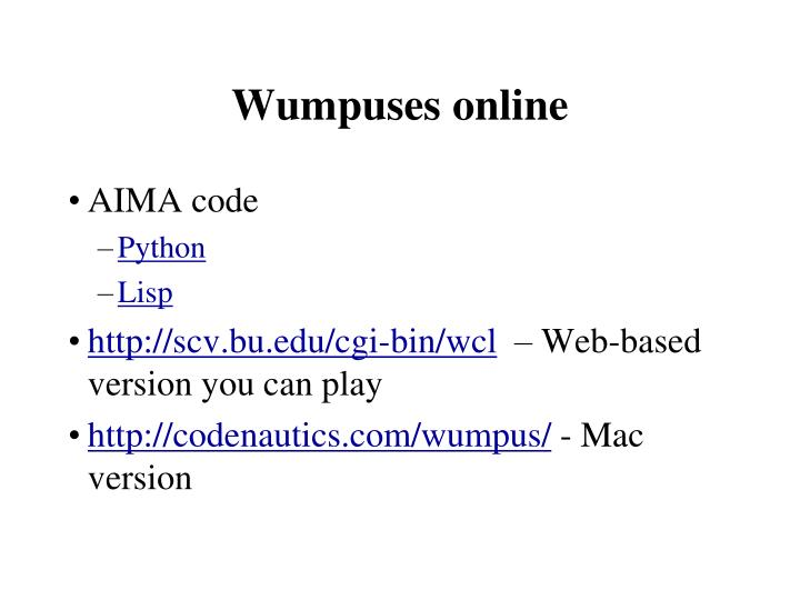 Wumpuses online