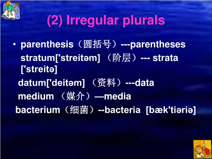 (2) Irregular plurals