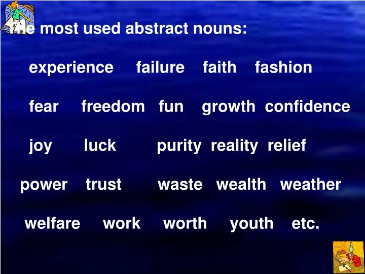 The most used abstract nouns:
