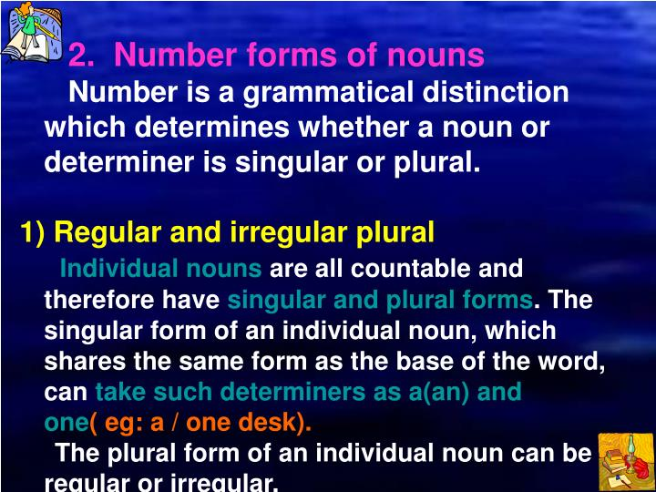 2.  Number forms of nouns
