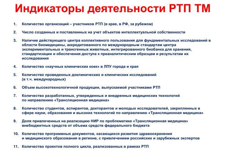 Индикаторы деятельности РТП ТМ