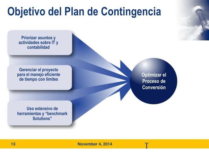 Objetivo del Plan de Contingencia
