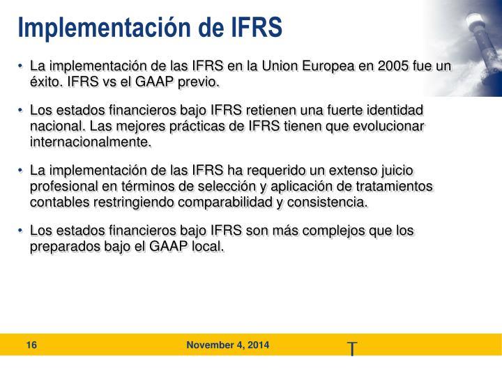Implementación de IFRS