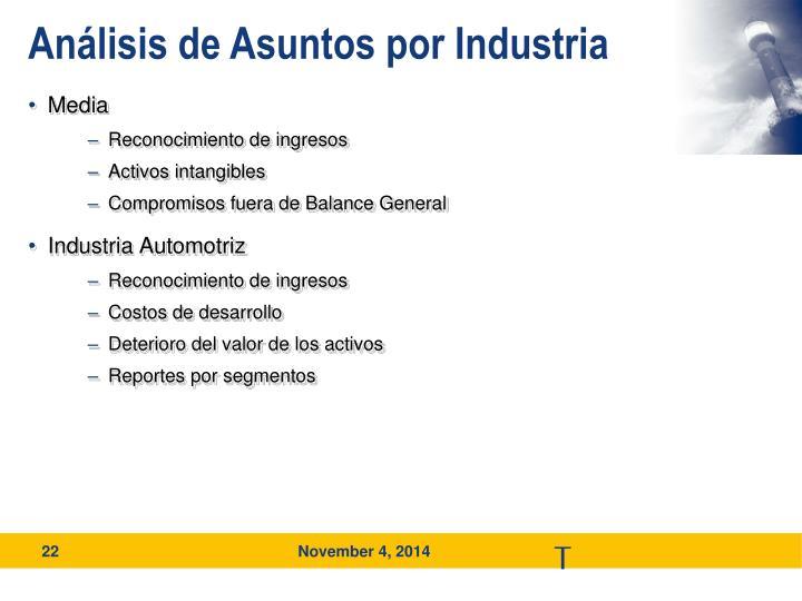 Análisis de Asuntos por Industria