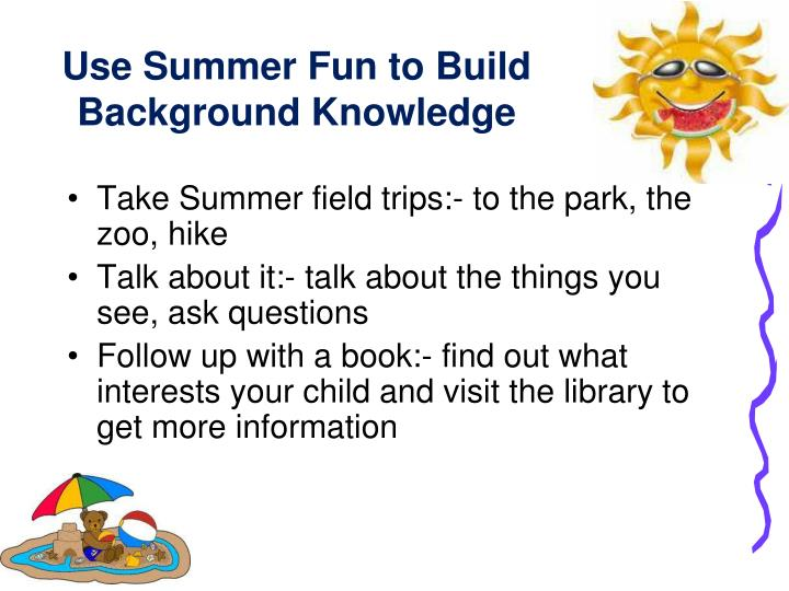 Use Summer Fun to Build Background Knowledge