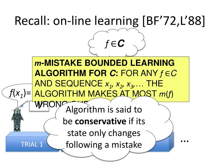 Recall: on-line learning [BF'72,L'88]