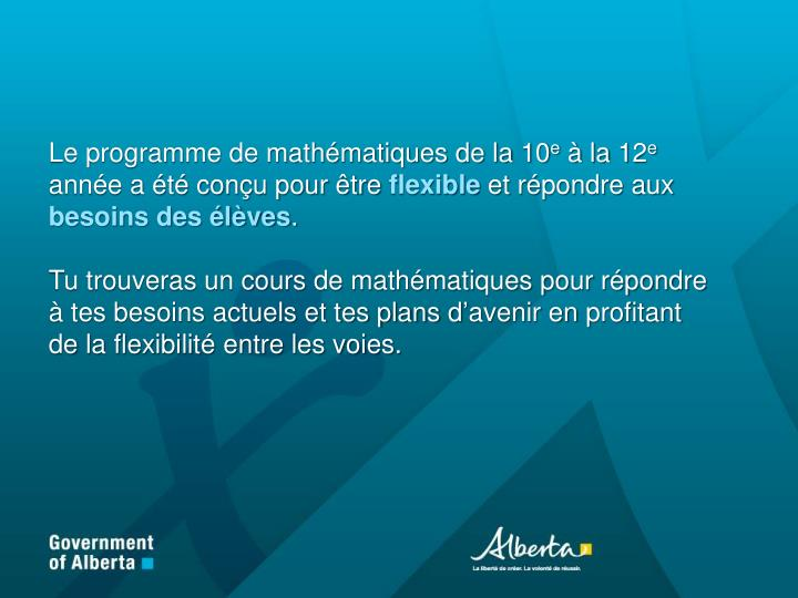 Le programme de mathématiques de la 10