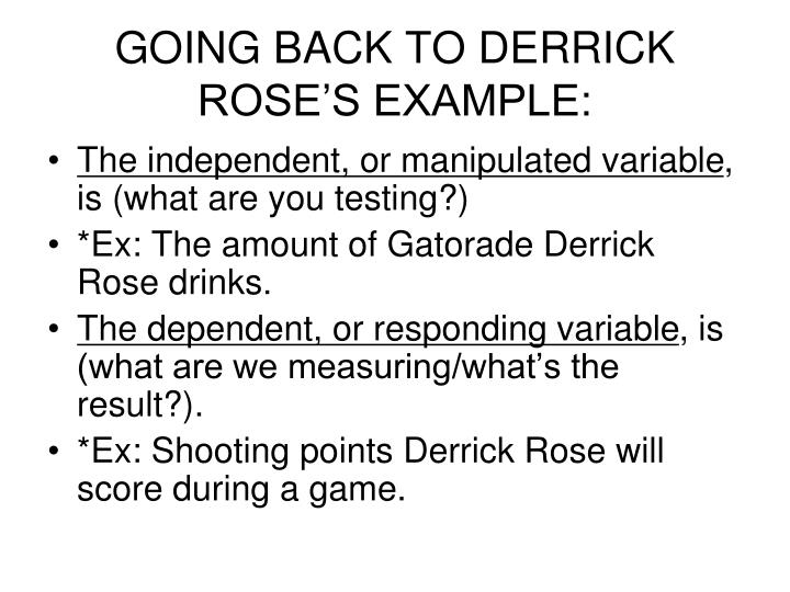 GOING BACK TO DERRICK ROSE'S EXAMPLE: