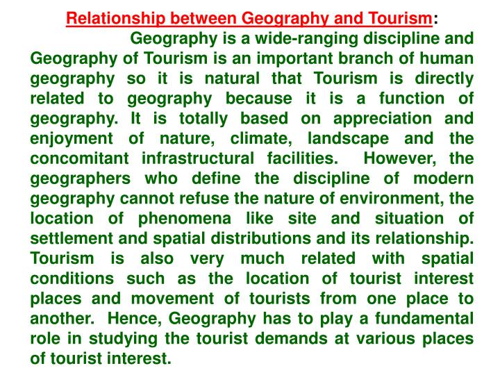 Relationship between Geography and Tourism