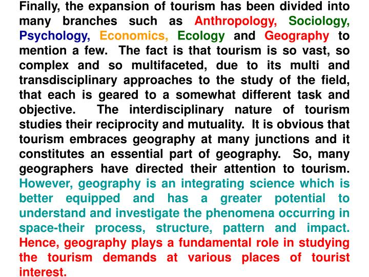 Finally, the expansion of tourism has been divided into many branches such as