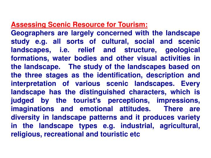 Assessing Scenic Resource for Tourism: