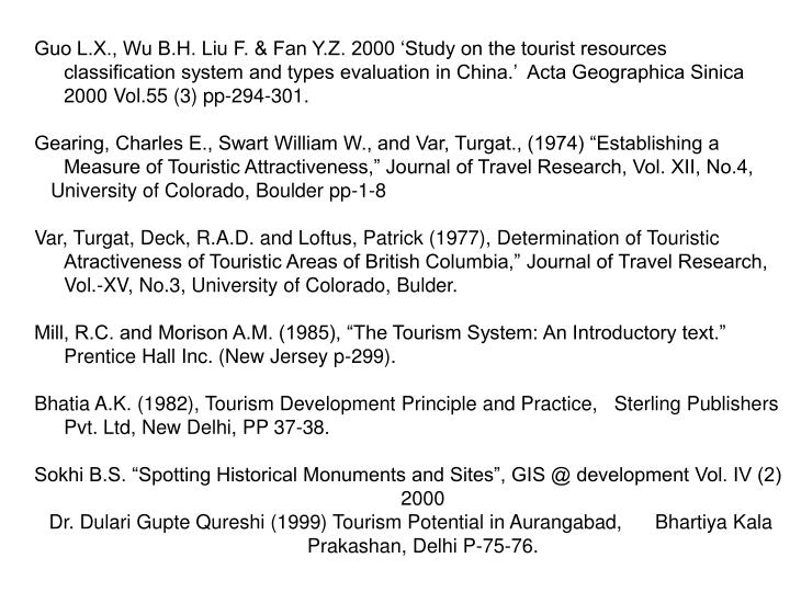 Guo L.X., Wu B.H. Liu F. & Fan Y.Z. 2000 'Study on the tourist resources classification system and types evaluation in China.'  Acta Geographica Sinica 2000 Vol.55 (3) pp-294-301.