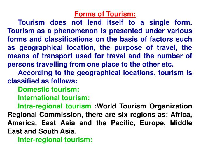 Forms of Tourism: