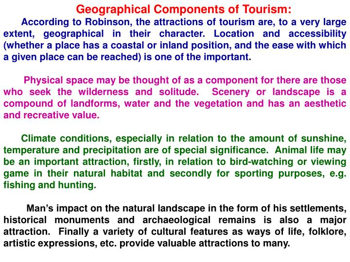 Geographical Components of Tourism: