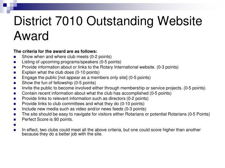 District 7010 Outstanding Website Award