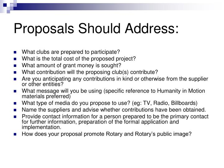 Proposals Should Address: