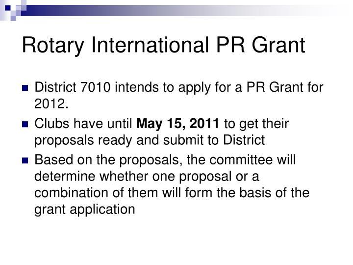 Rotary International PR Grant