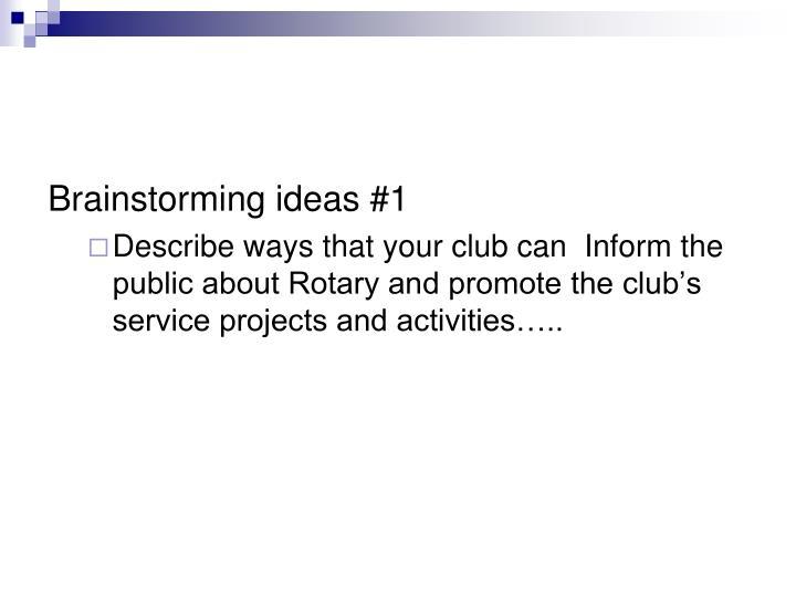Brainstorming ideas #1