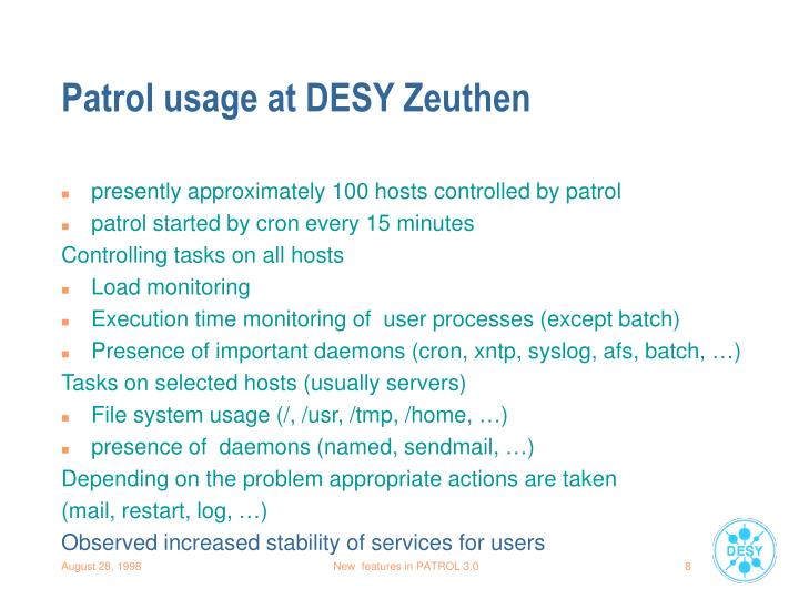 Patrol usage at DESY Zeuthen