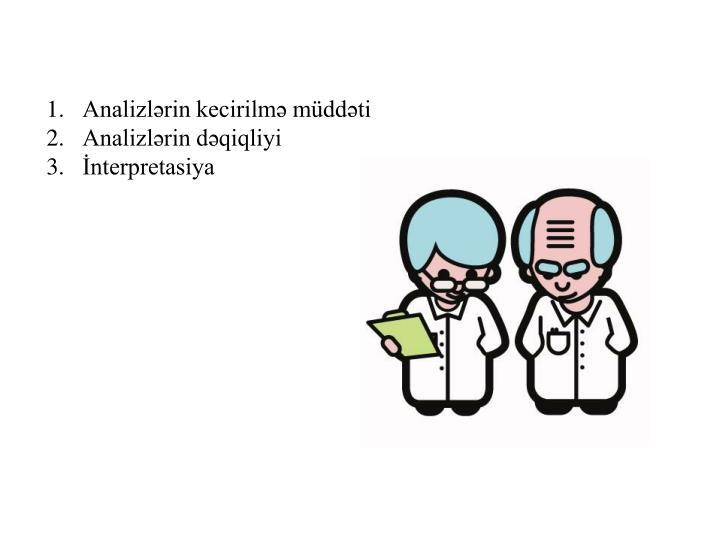 Analizlərin kecirilmə müddəti