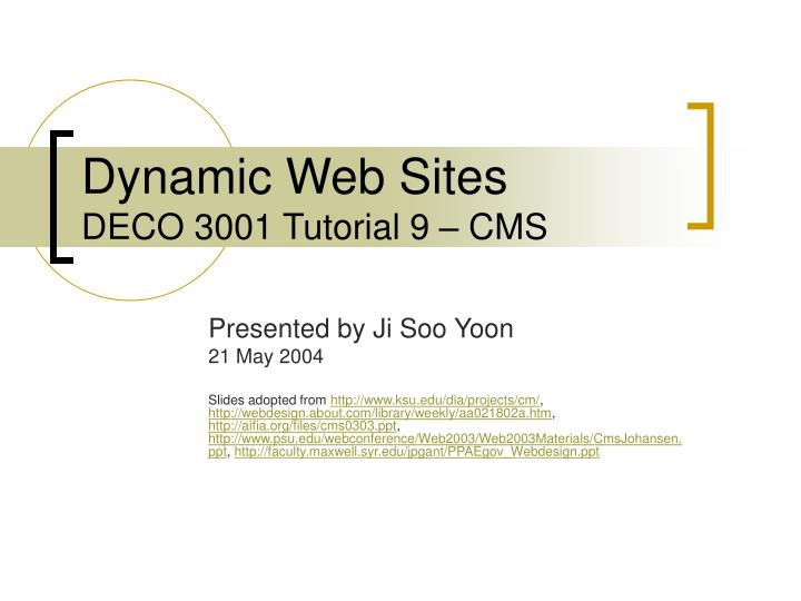 dynamic web sites deco 3001 tutorial 9 cms