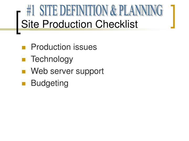 Site Production Checklist