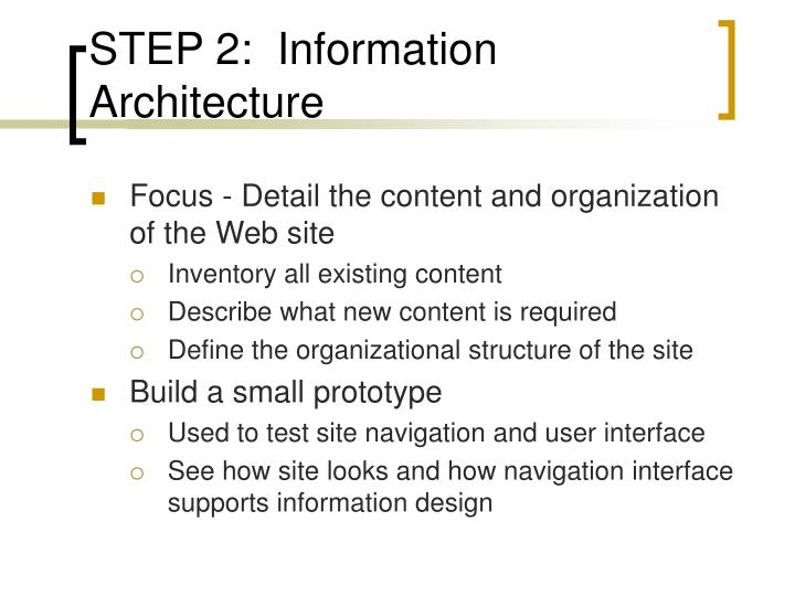 STEP 2:  Information Architecture