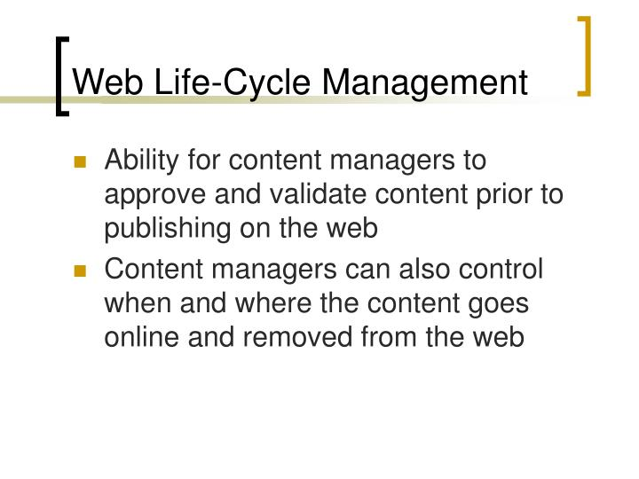 Web Life-Cycle Management