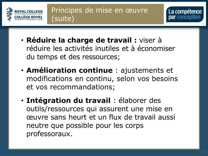 Principes de mise en œuvre (suite)