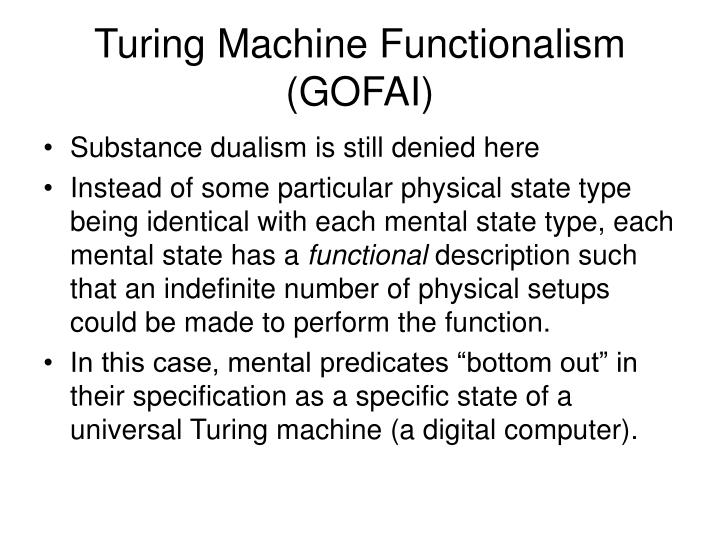 Turing Machine Functionalism (GOFAI)