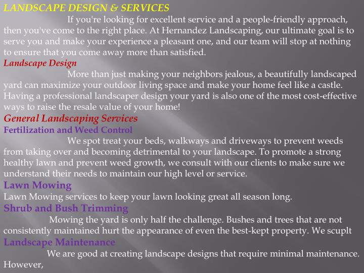 LANDSCAPE DESIGN & SERVICES