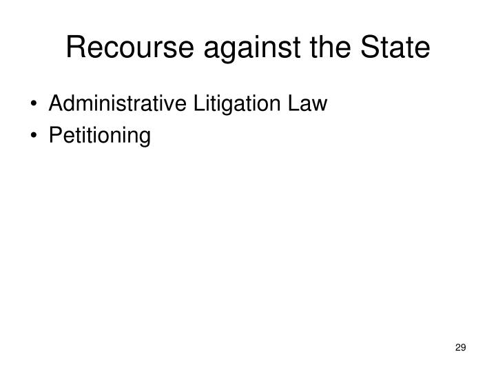 Recourse against the State