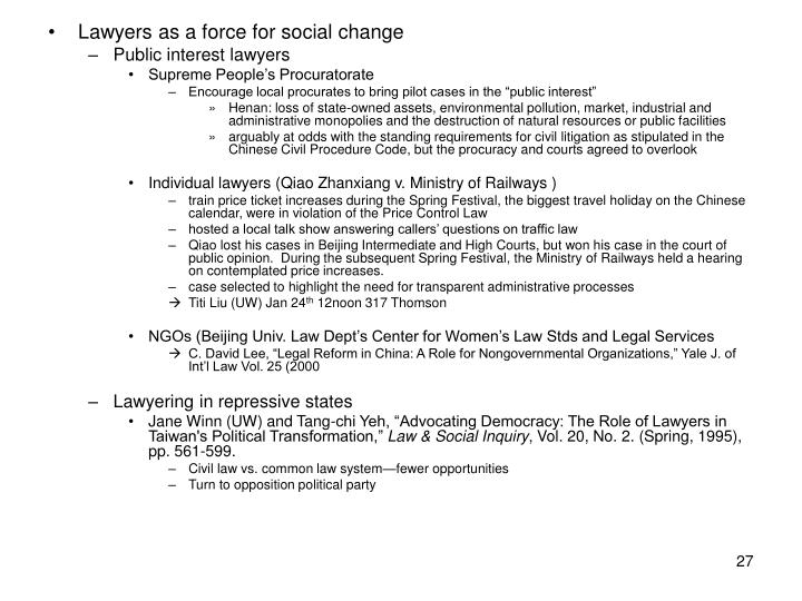 Lawyers as a force for social change