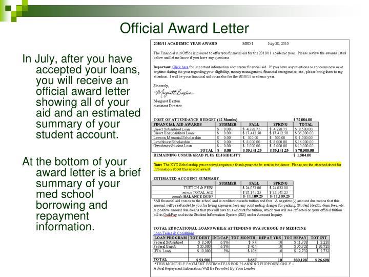 Official Award Letter