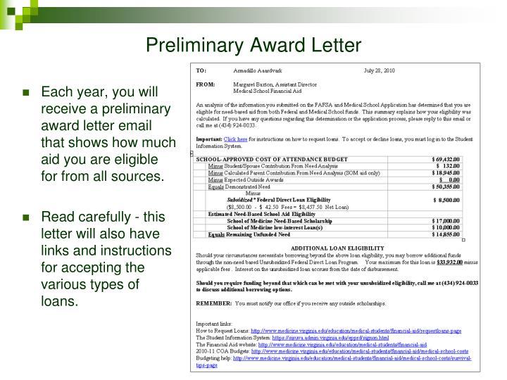 Preliminary Award Letter