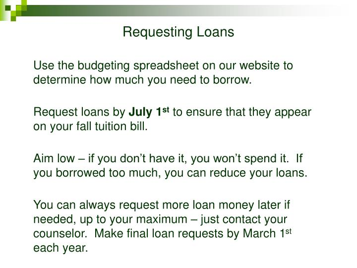 Requesting Loans