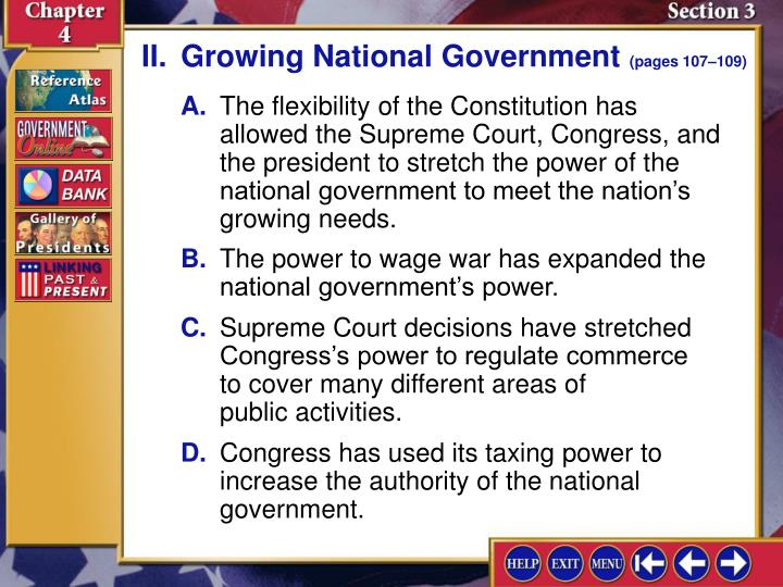 II.Growing National Government