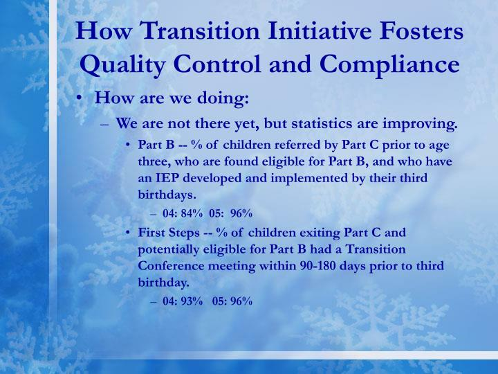 How Transition Initiative Fosters Quality Control and Compliance