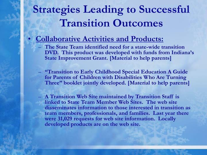 Strategies Leading to Successful Transition Outcomes
