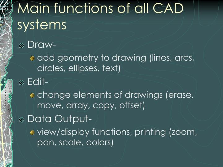 Main functions of all CAD systems