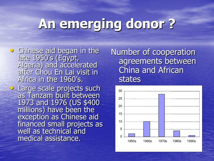 Chinese aid began in the late 1950's (Egypt, Algeria) and accelerated after Chou En Lai visit in Africa in the 1960's.