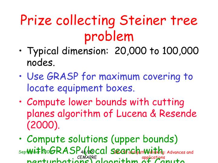 Prize collecting Steiner tree problem