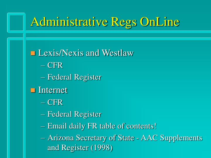 Administrative Regs OnLine
