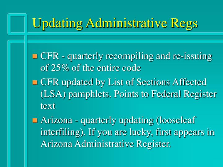Updating Administrative Regs